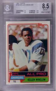 Kellen Winslow San Diego Chargers 1981 Topps Rookie Card graded BGS 8.5 NrMt-Mt+