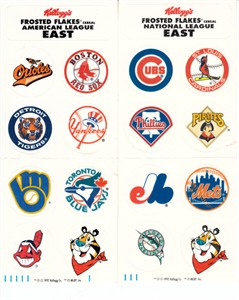 Kellogg's Frosted Flakes AL East & NL East 1990s logo sticker set