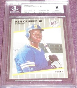 Ken Griffey Jr. Seattle Mariners 1989 Fleer Rookie Card #548 BGS graded 8