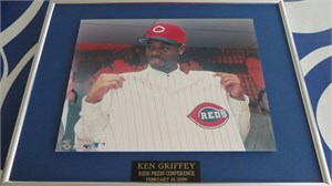 Ken Griffey Jr. Cincinnati Reds 2000 press conference 8x10 photo matted & framed