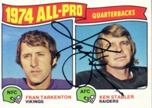 Ken Stabler autographed Oakland Raiders 1975 Topps All-Pro Quarterbacks card