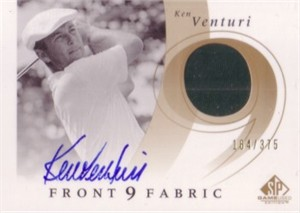 Ken Venturi 2002 SP Game Used Edition certified autograph golf card with worn shirt swatch