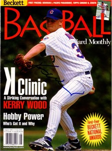 Kerry Wood autographed Chicago Cubs 1998 Beckett Baseball cover