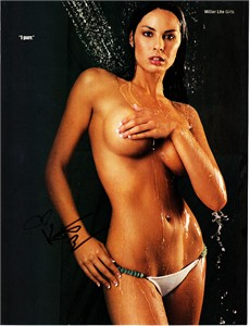 Kitana Baker (Miller Lite Catfight star) autographed Stuff magazine topless photo