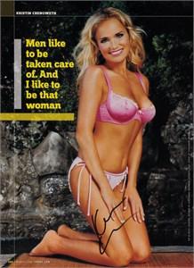 Kristin Chenoweth autographed 2006 FHM full page bikini photo