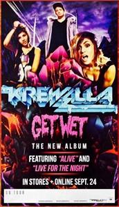 KREWELLA Get Wet album and tour original 2013 mini 10x18 inch promo poster RARE