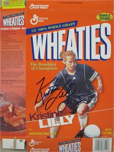 Kristine Lilly autographed 1999 Wheaties cereal box