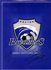 Kristine Lilly & Kate Sobrero autographed WUSA Boston Breakers folder