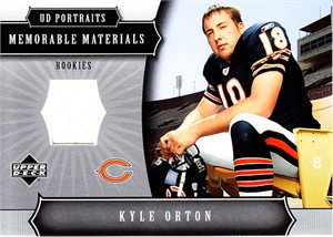 Kyle Orton 2005 Upper Deck Portraits event worn Chicago Bears game jersey Rookie Card