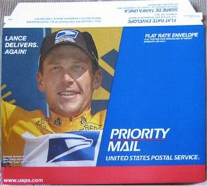 Lance Armstrong 2000 Tour de France USPS Priority Mail envelope