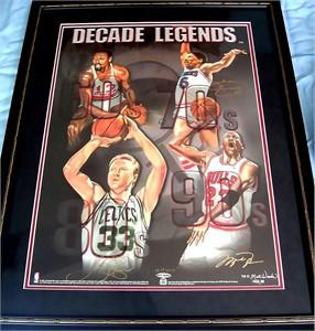 Larry Bird Wilt Chamberlain Julius Erving Michael Jordan autographed UDA Decade Legends lithograph framed ltd edit 200