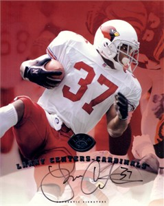 Larry Centers certified autograph Arizona Cardinals 1997 Leaf 8x10 photo card