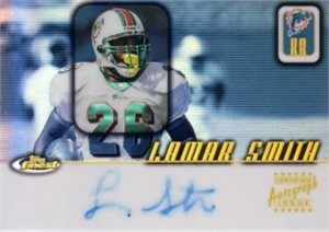 Lamar Smith certified autograph Miami Dolphins 2001 Topps Finest card