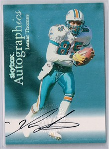 Lamar Thomas certified autograph Miami Dolphins 1999 SkyBox Autographics card