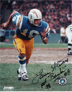 Lance Alworth autographed San Diego Chargers 8x10 photo inscribed Bambi & HOF 78