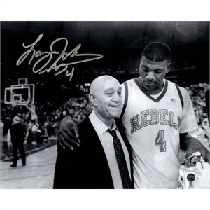 Larry Johnson autographed UNLV Rebels 8x10 photo with Jerry Tarkanian (Steiner)