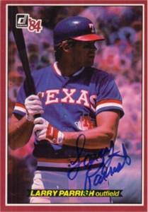 Larry Parrish autographed Texas Rangers 1984 Donruss Action All-Stars jumbo card