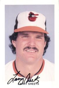 Larry Sheets autographed Baltimore Orioles photo postcard
