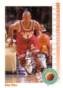 Latrell Sprewell autographed Alabama 1992 Star Pics card