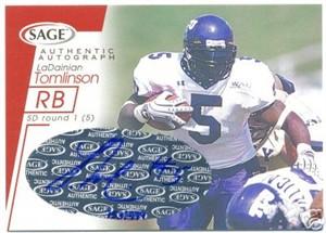 LaDainian Tomlinson certified autograph TCU 2001 SAGE card