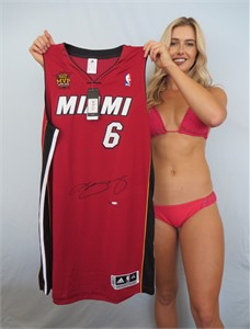 LeBron James autographed Miami Heat Back to Back Finals MVP authentic game model jersey #1/25 (UDA)