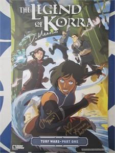 Janet Varney Michael DiMartino Irene Koh autographed 2017 Comic-Con Legend of Korra poster