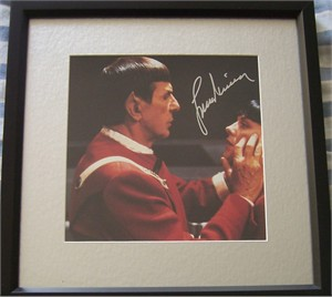 Leonard Nimoy autographed Star Trek VI movie photo matted & framed