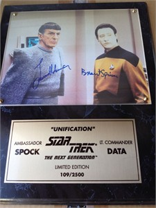 Leonard Nimoy & Brent Spiner autographed Star Trek The Next Generation 8x10 photo in plaque #1235/2500