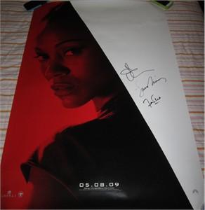 Leonard Nimoy John Cho Faran Tahir autographed 2009 Star Trek 27x40 inch full size movie poster