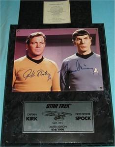 Leonard Nimoy & William Shatner autographed Star Trek 8x10 photo in plaque #826/1000
