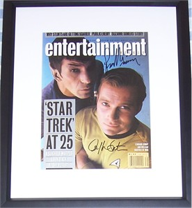 Leonard Nimoy & William Shatner autographed Star Trek 1991 Entertainment Weekly cover matted & framed