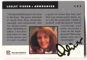 Lesley Visser certified autograph 1992 Pro Line card