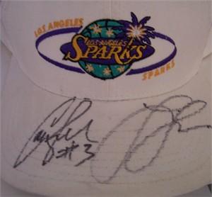 Lisa Leslie & Candace Parker autographed WNBA Los Angeles Sparks cap or hat