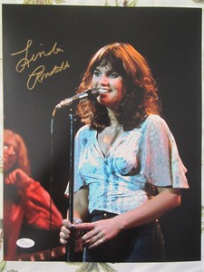 Linda Ronstadt autographed 11x14 photo at the microphone (JSA)