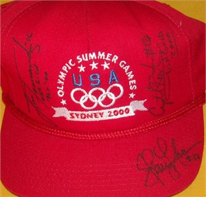 Lisa Fernandez Crystl Bustos Stacey Nuveman (softball) autographed 2000 USA Olympic cap or hat