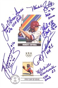 USA Softball stars autographed 1996 Olympic USPS First Day of Issue souvenir card sheet (Lisa Fernandez Dot Richardson Michele Smith)