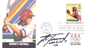 Lisa Fernandez autographed softball 1996 USPS Olympic First Day Cover