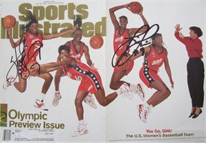 Lisa Leslie & Sheryl Swoopes autographed 1996 USA Olympic Basketball Sports Illustrated foldout cover