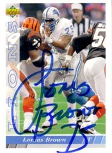 Lomas Brown autographed Detroit Lions 1993 Upper Deck card