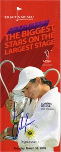 Lorena Ochoa autographed 2009 LPGA Kraft Nabisco Championship pairings guide