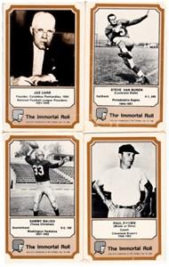 Lot of 4 1974 Fleer Pro Football Hall of Fame cards (Sammy Baugh Paul Brown Joe Carr Steve Van Buren)