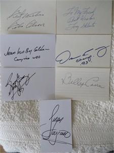 7 autographed boxing index cards (Billy Conn Oscar De La Hoya Tony Galento Bobo Olson)