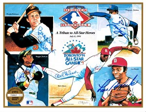 Lou Brock Bob Gibson Reggie Jackson Fergie Jenkins Brooks Robinson autographed 1991 All-Star Upper Deck card sheet