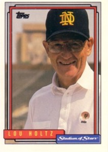 Lou Holtz Notre Dame 1992 Topps Stadium of Stars promo card
