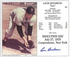 Lou Boudreau autographed Boston Red Sox 8x10 Hall of Fame photo card
