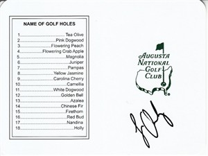 Louis Oosthuizen autographed Augusta National Masters scorecard