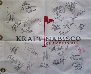 LPGA Kraft Nabisco golf pin flag autographed by 27 winners (Stacy Lewis Nancy Lopez Lorena Ochoa Annika Sorenstam Karrie Webb)