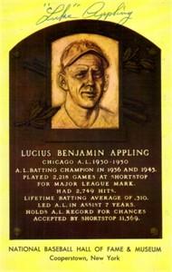 Luke Appling autographed Baseball Hall of Fame plaque postcard