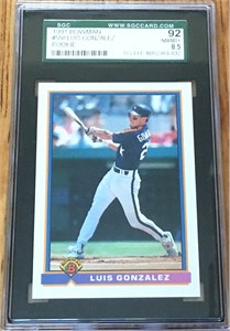 Luis Gonzalez 1991 Bowman Rookie Card #550 graded SGC 92 (NrMt-Mt++)