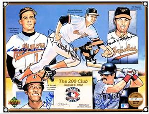 Luis Aparicio Bill Buckner Milt Pappas J.R. Richard Brooks Robinson autographed Baltimore Orioles 1992 Upper Deck card sheet